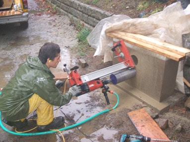 coring-rammed-earth-wall