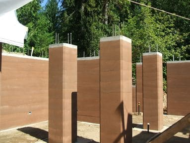 rammed earth pillars