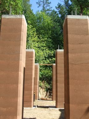 rammed-earth pillars
