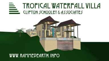 Tropical Waterfall Villa Rammed Earth