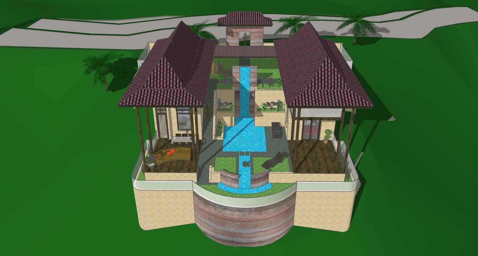 tropical waterfall villa pool